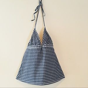 J. CREW NAVY AND BLUE GINGHAM TANKINI TOP